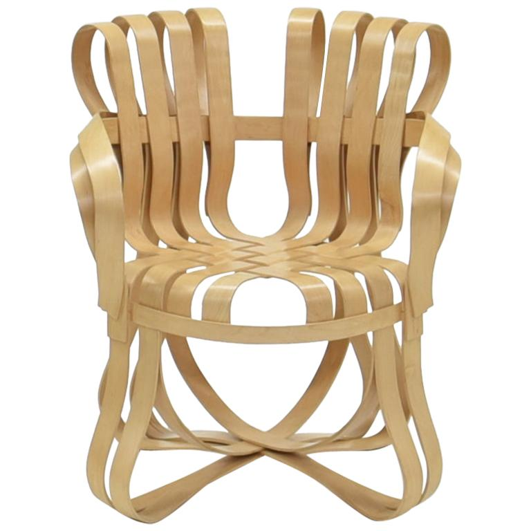 Frank Gehry Cross Check Chair Bent Maple Wood with Arms Knoll International USA