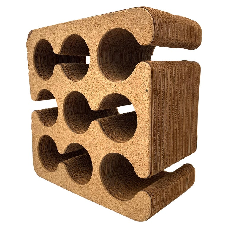 "Frank Gehry ""Easy Edges"" Cork and Corrugated Cardboard Nine Bottle Wine Rack For Sale"