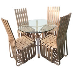 Frank Gehry Face Off Table and Set of Four High Sticking Chairs for Knoll