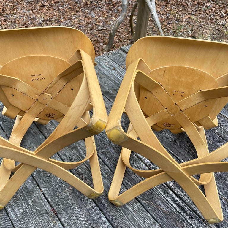 Post-Modern Frank Gehry for Knoll Hat Trick Chair, Set of 4, 1990 For Sale