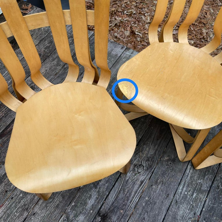 20th Century Frank Gehry for Knoll Hat Trick Chair, Set of 4, 1990 For Sale