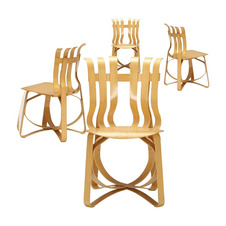 Frank Gehry for Knoll Hat Trick Chair, Set of 4, 1990 For Sale
