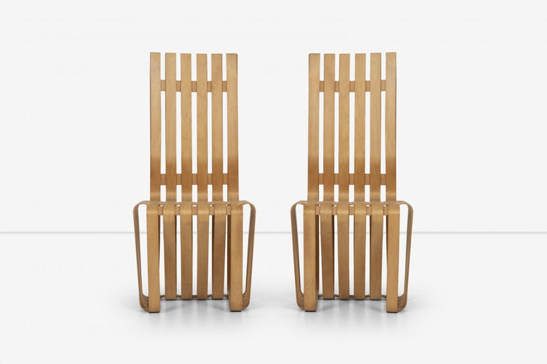 Frank Gehry high back high sticking chairs for Knoll, bentwood furniture inspired by the simple bushel basket.  Gehry quotes: