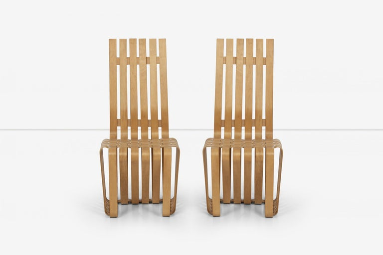 Mid-Century Modern Frank Gehry High-Back High Sticking Chairs for Knoll For Sale