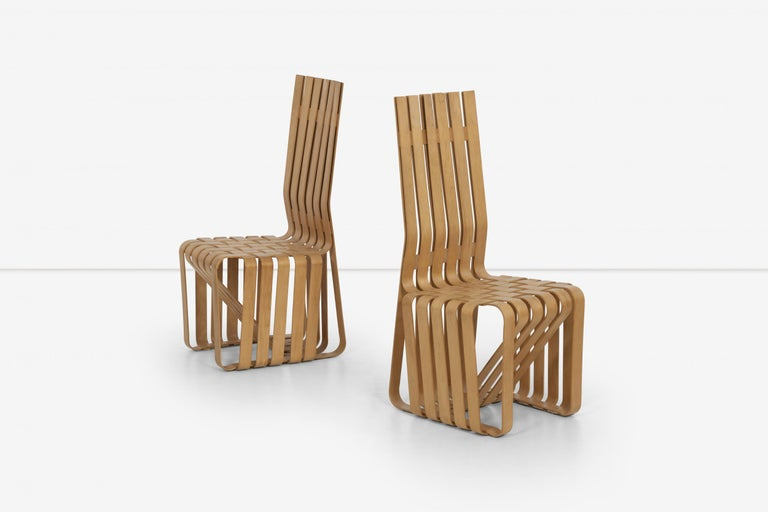 American Frank Gehry High-Back High Sticking Chairs for Knoll For Sale