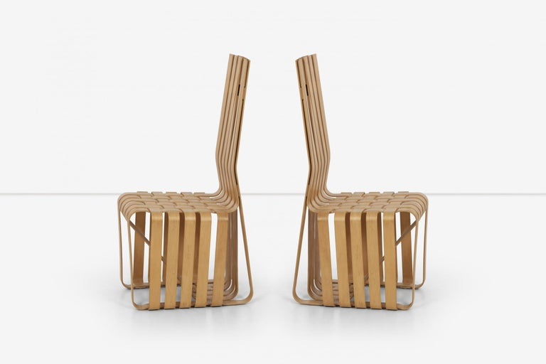 Faceted Frank Gehry High-Back High Sticking Chairs for Knoll For Sale
