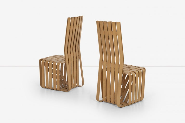 Frank Gehry High-Back High Sticking Chairs for Knoll In Good Condition For Sale In Chicago, IL