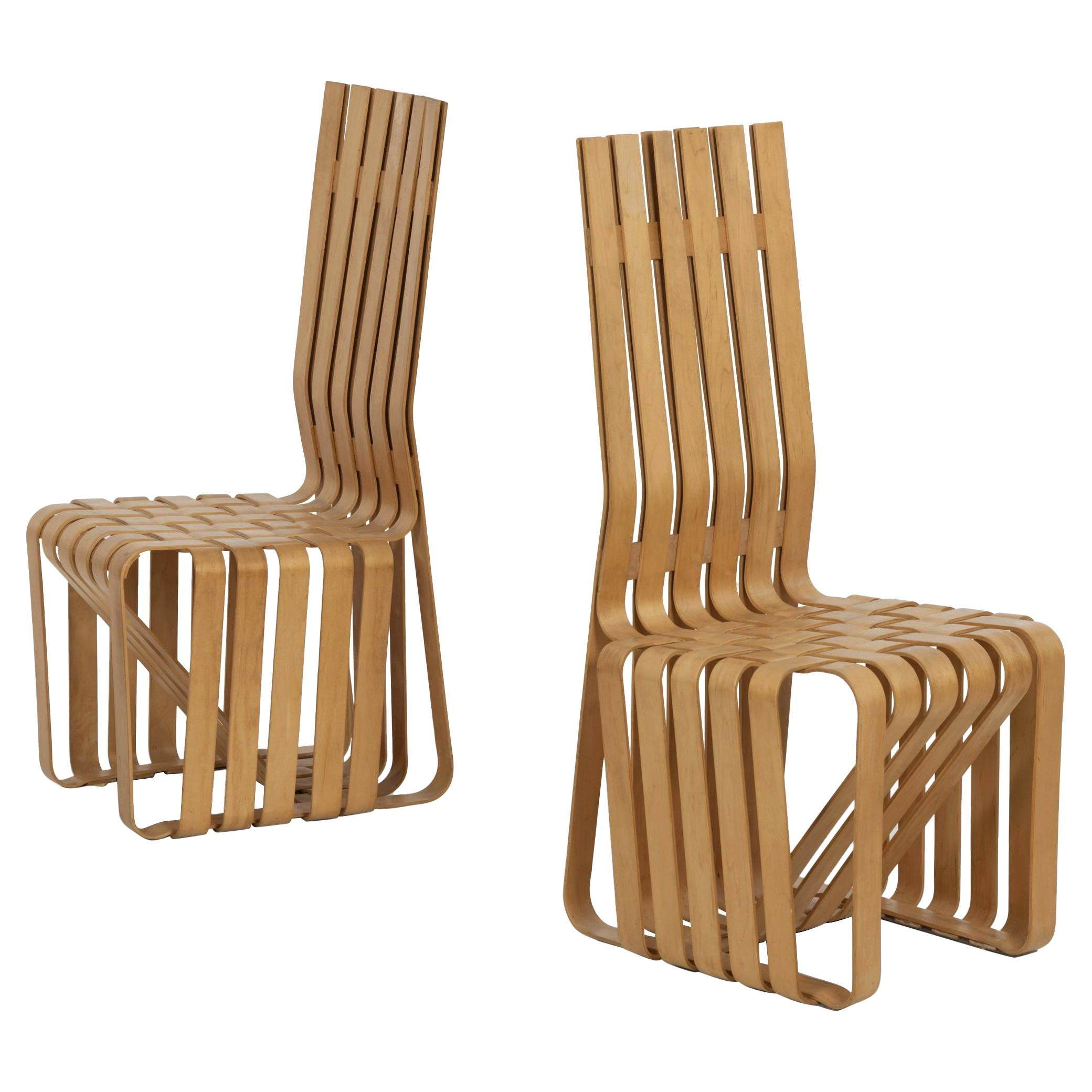 Frank Gehry High-Back High Sticking Chairs for Knoll