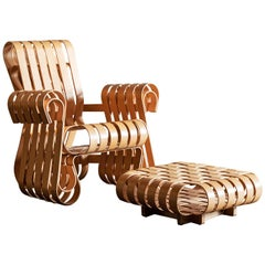 Frank Gehry Power Play Chair and Ottoman for Knoll, United States, 1990