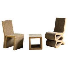 Frank Gehry Wiggle Chair, Side Chair & Side Table or Stool Designed in 1972