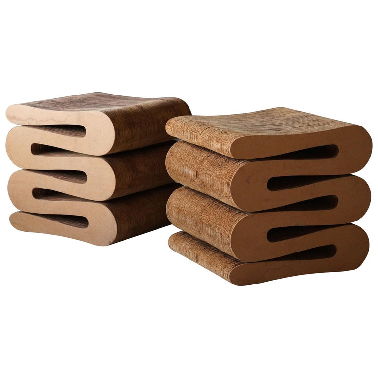 """Frank Gehry """"Wiggle"""" Stools, Cardboard, Masonite, Easy Edges, Inc, 1970s For Sale"""