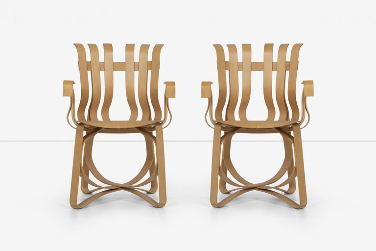 Frank Ghery hat trick arm chairs for Knoll, bentwood furniture inspired by the simple bushel basket. Gehry quotes: