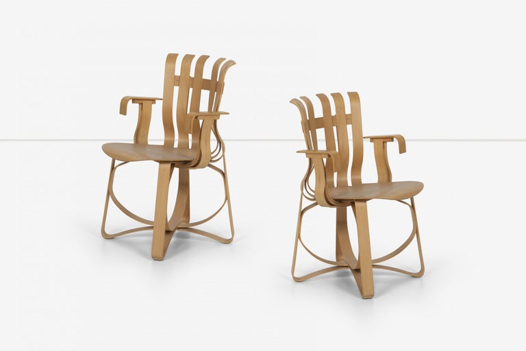 American Frank Ghery Hat Trick Arm Chairs for Knoll For Sale