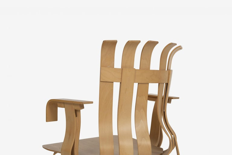Maple Frank Ghery Hat Trick Arm Chairs for Knoll For Sale