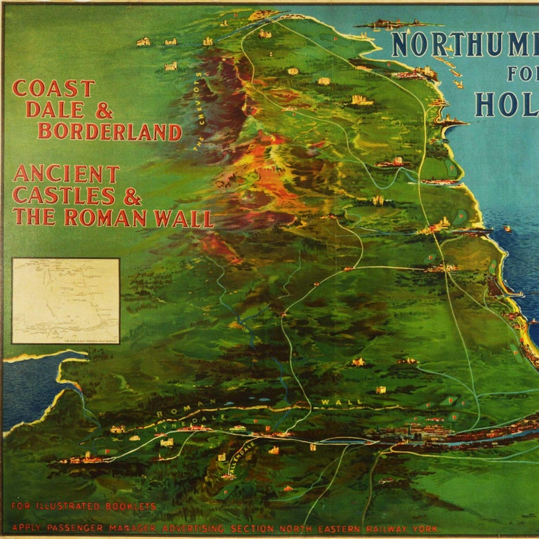 Original Antique Poster Northumberland Holidays Rail Travel Map Golf Roman Wall - Print by Frank Henry Mason
