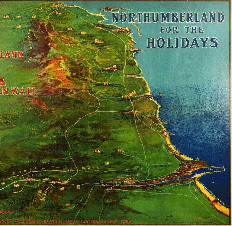 Original Antique Poster Northumberland Holidays Rail Travel Map Golf Roman Wall - Black Print by Frank Henry Mason