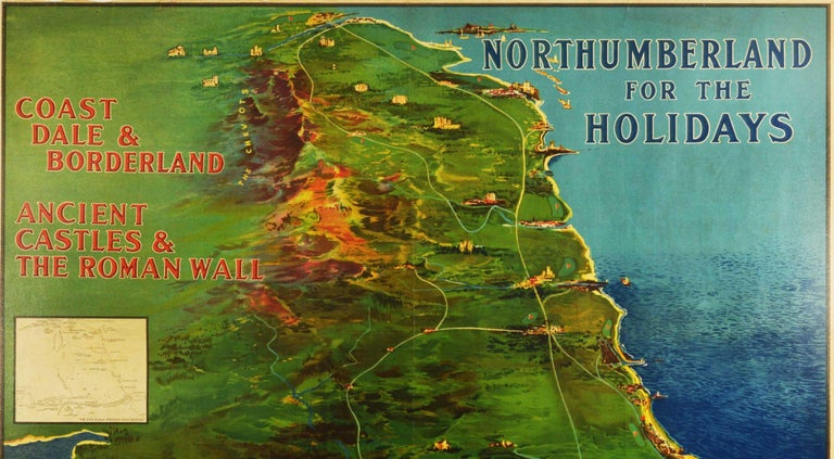 Original antique train travel poster issued by NER North Eastern Railway - Northumberland for the Holidays Coast Dale & Borderland Ancient Castles & The Roman Wall - featuring a pictorial map illustration by the English artist Frank Henry Mason