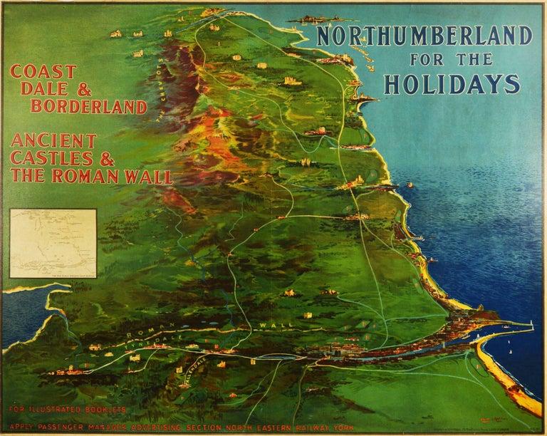 Frank Henry Mason Print - Original Antique Poster Northumberland Holidays Rail Travel Map Golf Roman Wall