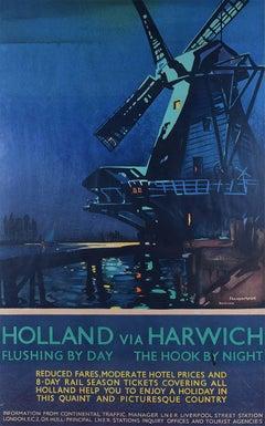 Poster Holland via Harwich 1932 Frank Mason LNER Original Vintage Travel Poster