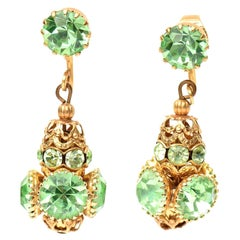 Frank Hess for Miriam Haskell Dangle Clip on Glass and Gold Plated Earrings