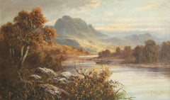 Antique Scottish Highland River Landscape Signed Oil Painting