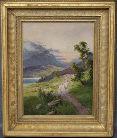 The Highland Sunset Sheep on Pathway beside Loch Signed Antique Oil Painting
