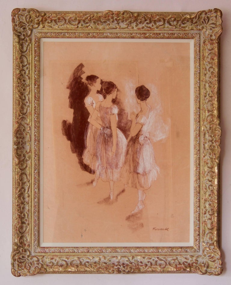 Rehearsal - Mid-Late 20th Century Impressionist Oil of Ballet by Frank Hill For Sale 1