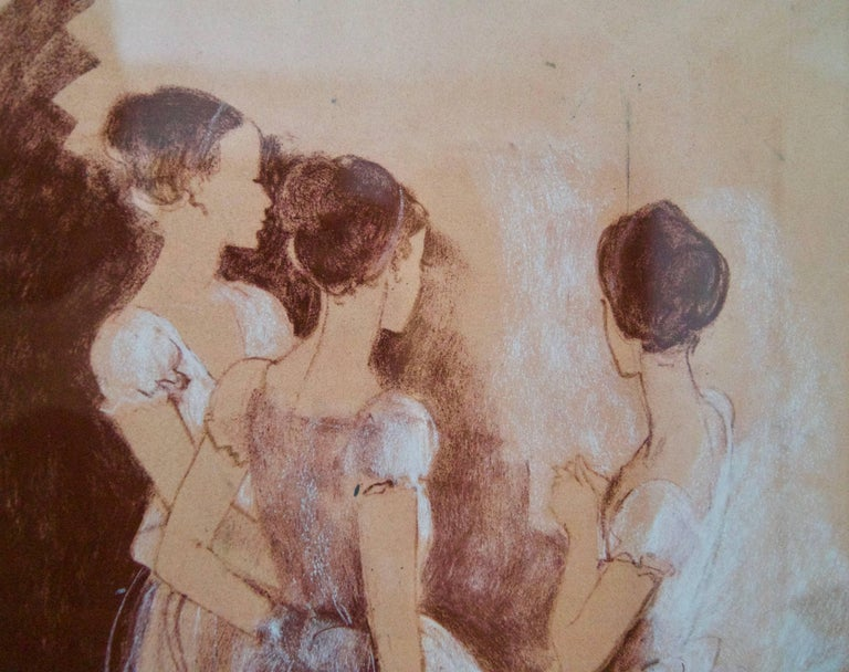 Rehearsal - Mid-Late 20th Century Impressionist Oil of Ballet by Frank Hill For Sale 2
