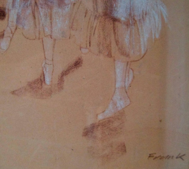 Rehearsal - Mid-Late 20th Century Impressionist Oil of Ballet by Frank Hill For Sale 3