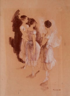 Rehearsal - Mid-Late 20th Century Impressionist Oil of Ballet by Frank Hill