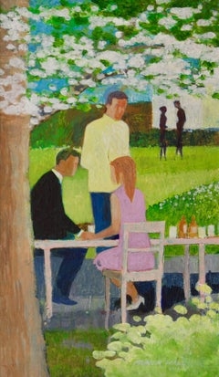 Spring Dining - Mid Late 20th Century Oil of Garden Cafe by Frank Hill