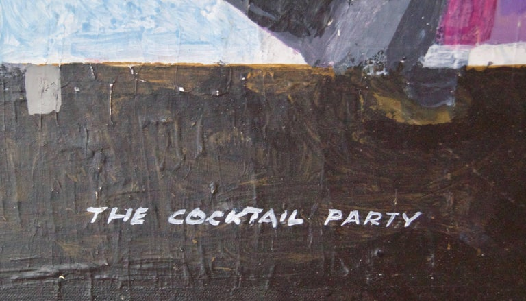 The Cocktail Party in a Skyscraper - Mid-Late 20th Century Oil by Frank Hill 6
