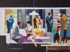 The Cocktail Party in a Skyscraper - Mid-Late 20th Century Oil by Frank Hill