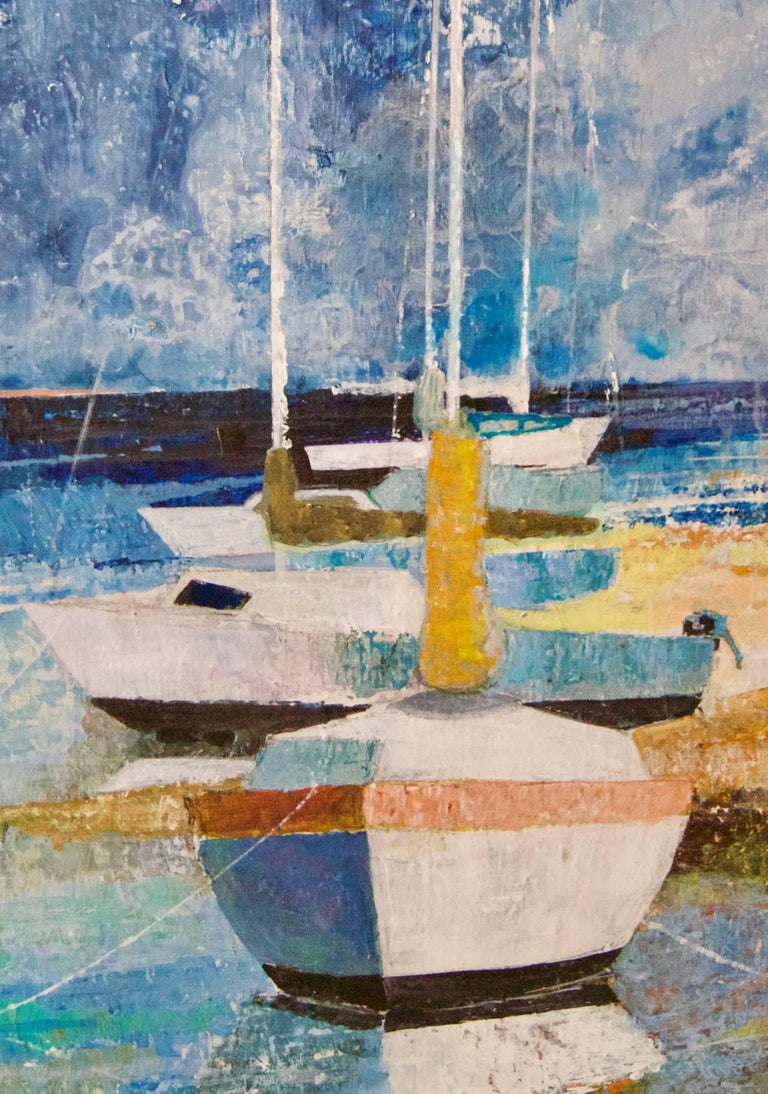 The Dingy Park - Mid-Late 20th Century Impressionist Oil Sailing Yachts - Hill - Post-Impressionist Painting by Frank Hill