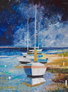 The Dingy Park - Mid-Late 20th Century Impressionist Oil Sailing Yachts - Hill