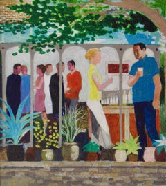 The Garden Party II - Mid - Late 20th Century Impressionist Oil by Frank Hill