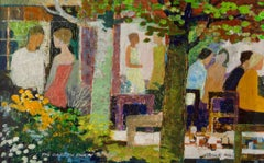 The Garden Party - Mid Late 20th Century Impressionist Oil by Frank Hill