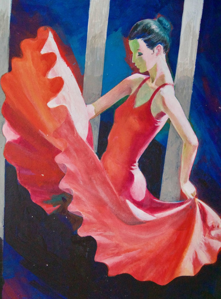 The Red Dancer - Mid-Late 20th Century Figurative Elegant Ballet by Frank Hill For Sale 2