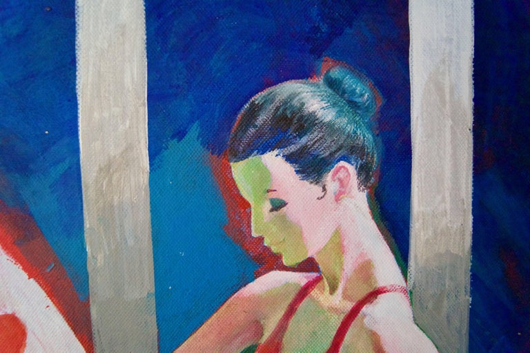 The Red Dancer - Mid-Late 20th Century Figurative Elegant Ballet by Frank Hill For Sale 3