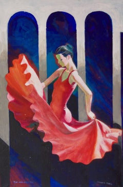 The Red Dancer - Mid-Late 20th Century Figurative Elegant Ballet by Frank Hill