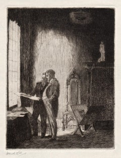 The Print Collector, drypoint by Frank Hill, c1935
