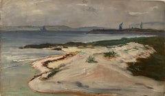 FINE 1900s ENGLISH IMPRESSIONIST OIL - COASTAL BEACH SAND DUNES - SIGNED