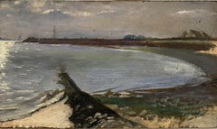 FINE 1900s ENGLISH IMPRESSIONIST OIL - COASTAL ESTUARY AT DUSK