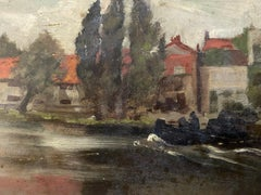 FINE 1900s ENGLISH IMPRESSIONIST OIL - RIVER RUNNING BEHIND HOUSES