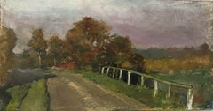 FINE 1900s ENGLISH IMPRESSIONIST OIL - RURAL COUNTRY LANE THROUGH FIELDS