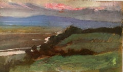 FINE 1900s ENGLISH IMPRESSIONIST OIL - SUNSET LANDSCAPE