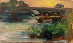 FINE 1900s ENGLISH IMPRESSIONIST OIL - SUNSET OVER OLD STONE BRIDGE & RIVER