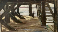 FINE 1900s ENGLISH OIL - FIGURE UNDER WOODEN PIER ESTUARY COASTAL SCENE