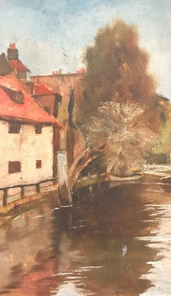 FRANK HOBDEN (1859-1936) FINE 1900s ENGLISH IMPRESSIONIST OIL - RIVER & HOUSES