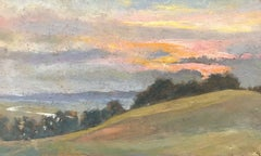 FRANK HOBDEN (1859-1936) FINE 1920s ENGLISH IMPRESSIONIST OIL - MISTY SUNSET